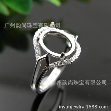 韵尚珠宝新款时尚潮流镶嵌玉石戒指
