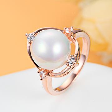名兴首饰时尚S925银饰镶嵌珍珠戒指