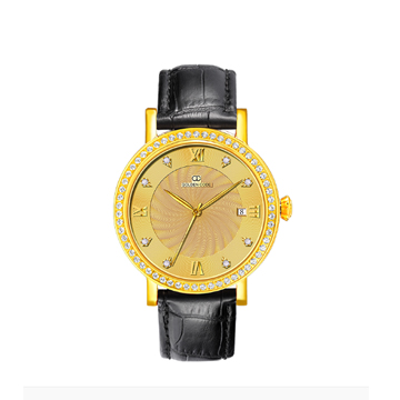 古昆金表硬足金瑞士皮带手表