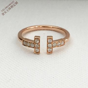 奢品女王珠宝时尚双T钻石戒指