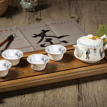 金银泰高端精致银瓷茶杯