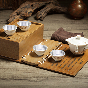 金银泰高端银瓷茶杯