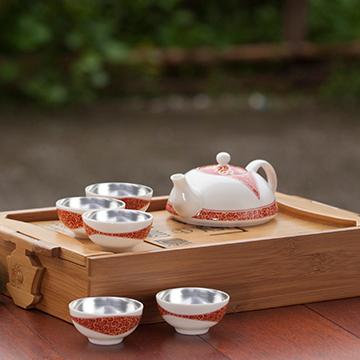 金银泰个性银瓷茶具