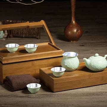 金银泰精美银瓷茶具
