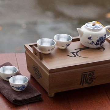 金银泰青花瓷银瓷茶具