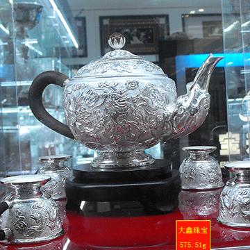 大鑫珠宝纯银九头茶具