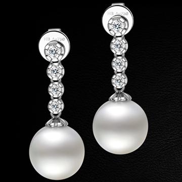 赫本珠宝南洋白珍珠优雅耳坠