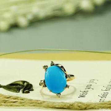 三清珠宝高瓷高蓝绿松石镶嵌18K金