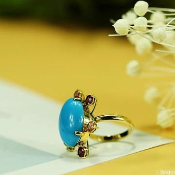 三清珠宝高瓷高蓝绿松石镶嵌18K玫
