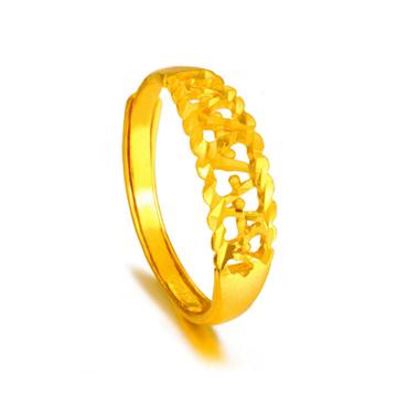 大唐金钻镂空黄金戒指