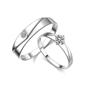 爱狼说珠宝925纯银浪漫情侣对戒