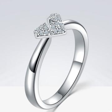 蓝色火焰18k铂金钻石戒指情侣款