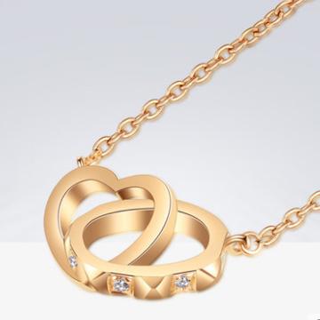 蓝色火焰18K金钻石项链女锁骨链