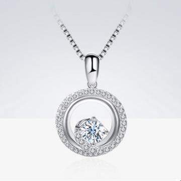 蓝色火焰群镶钻石项链
