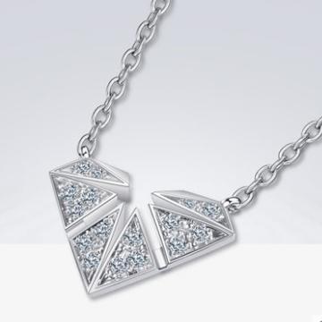 蓝色火焰钻石项链女锁骨链