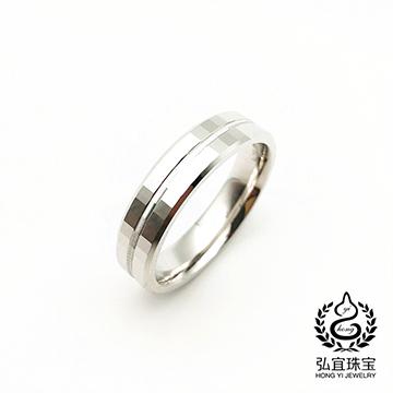 弘宜珠宝时尚K金白色戒指