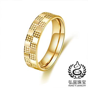 弘宜珠宝时尚印花K金戒指