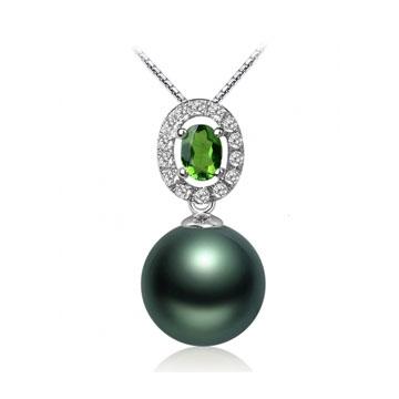 珍珠美人绿碧玺-大溪地黑珍珠吊坠