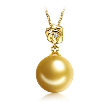 珍珠美人时尚金色南洋珍珠吊坠