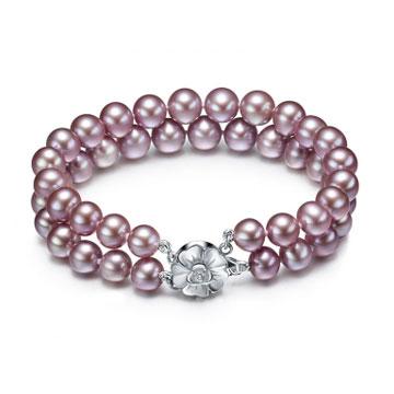珍珠美人双层紫色淡水珍珠手链