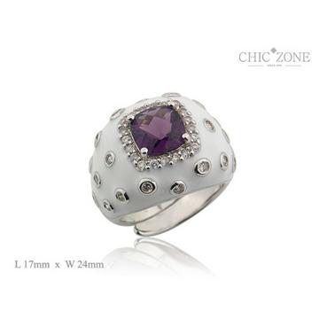 琦珂银饰-紫色宝石戒指