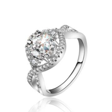 千色叶白铜镀金镶钻女士戒指