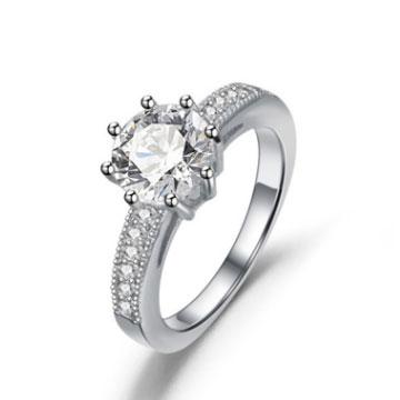 千色叶仿真钻戒求婚日韩银饰戒指