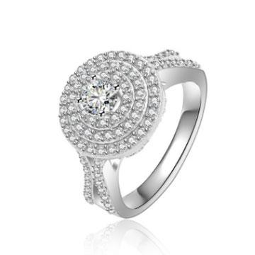 千色叶新颖圆形多钻时尚定制戒指