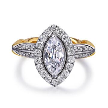 520【奢华】系列米兰钻石婚戒18K金