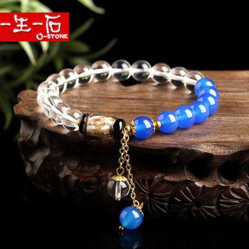 一生一石天然白水晶蓝玛瑙琉璃手链
