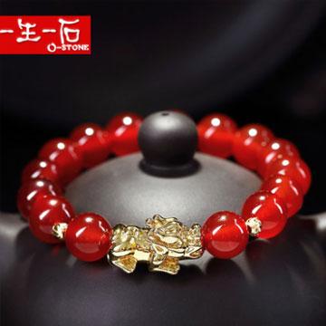 一生一石天然红玛瑙铜镀金貔貅手链