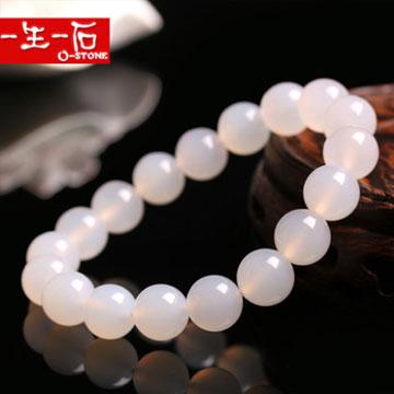 一生一石天然白玛瑙单圈圆珠子手链