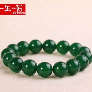 一生一石天然绿玛瑙圆珠子手链女