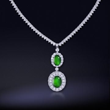 18K?#21672;?#40644;金翡翠钻石项链