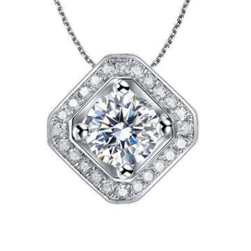 契爱S925纯银高端水晶项链方圆形镶