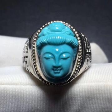 如心珠宝高瓷蓝?#36255;?#30707;观音玉化料戒