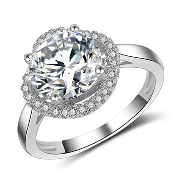 S925镀白金复古纯银戒指