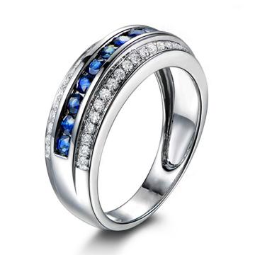 纯银彩石戒指个性定制