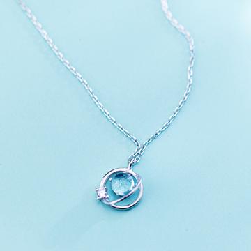 爱洛奇s925银单钻极光项链