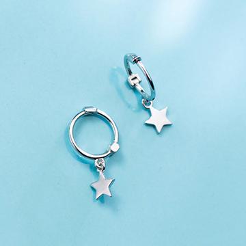愛洛奇s925銀簡約星星耳釘