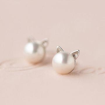 愛洛奇s925銀甜美人工珍珠貓咪可愛