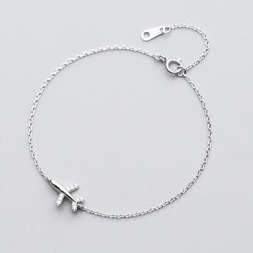 愛洛奇s925銀小清新鑲鉆飛機手鏈