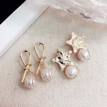 慧瑩飾品925銀針五角星珍珠耳環