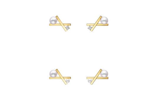 "TASAKI塔思琦""balance cross""拥吻平衡系列耳环"