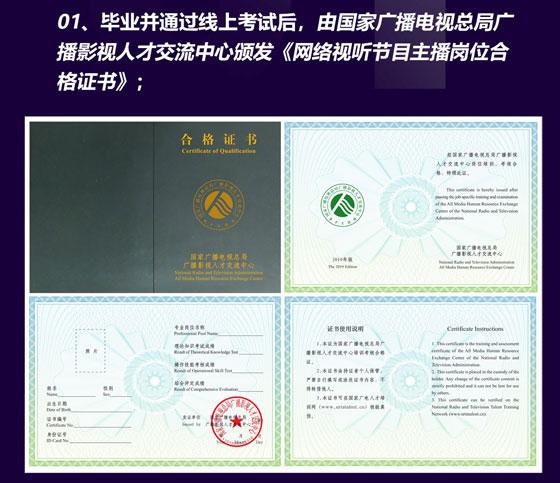 广电总局颁发《网络视听节目主播岗位合格证书》