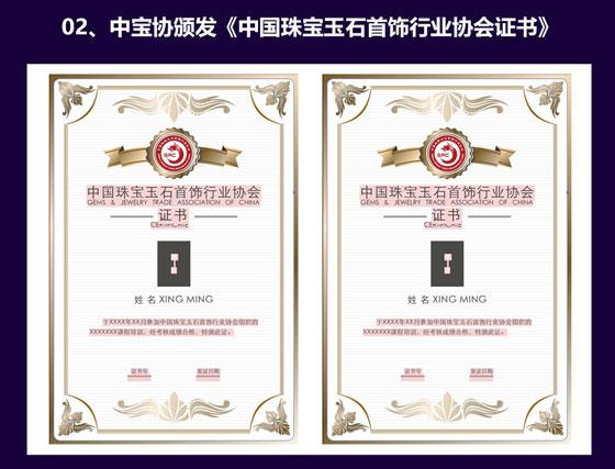 中宝协颁发《中国珠宝玉石首饰行业协会证书》