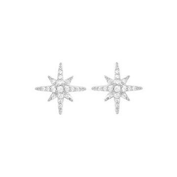 奢美珠宝六芒星耳环925纯银耳饰