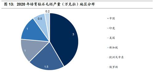2020年培育钻石毛坯产量(万克拉)地区分布